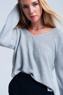 Gray ribbed sweater