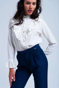 Cream crepe blouse